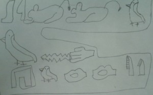 """Bella and Harry"" written in Hieroglyphics (which Abby learned in ""Let's Visit Cairo!"" :)"