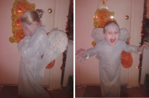 My daughter's Weeping Angel Halloween costume . . . but she wants to go to Comic Con as young Amelia Pond :)