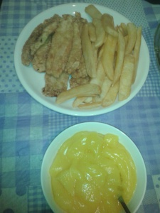 First, of course, we needed fish fingers (and chips) and custard (okay, so it's vanilla pudding, but it's the best I could do)!