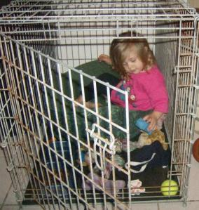 Here's a picture of my daughter when she was a toddler . . . entertaining herself in my friend's dog's cage . . . we actually had to lock her out of it and she was not happy!