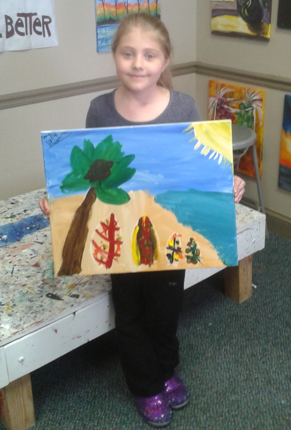 Abby and her masterpiece from Painting with a Twist