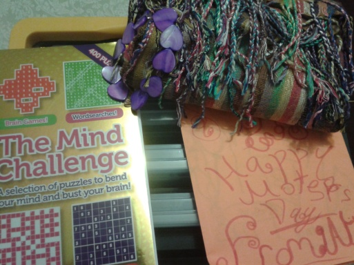 My Mother's Day gifts - a supply box for my jewelry-making stuff, a scarf, a bracelet (made by my boyfriend), a new puzzle book, and handmade card :)